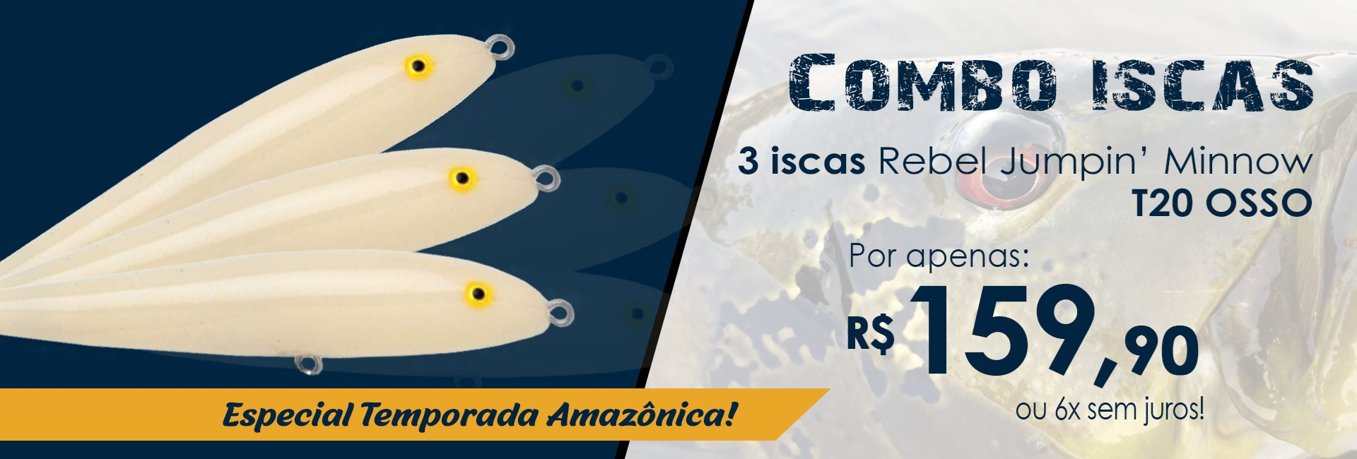 Combo c/ 3 Iscas Rebel Jumpin' Minnow T20