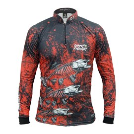 Camisa Rock Fishing Dry 50UV Skull Red