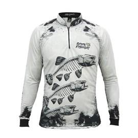 Camisa Rock Fishing Dry 50UV Skull White