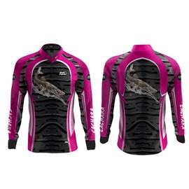 Camisa Rock Fishing Feminino Dry 50UV Cachara Rosa