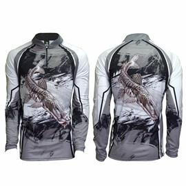 Camiseta Rock Fishing Dry River Cachara Cinza