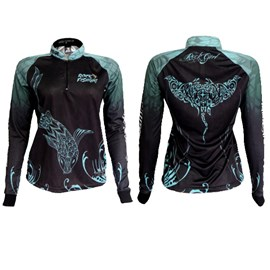 Camiseta Rock Fishing Feminina 50UV Maori (Black Blue)