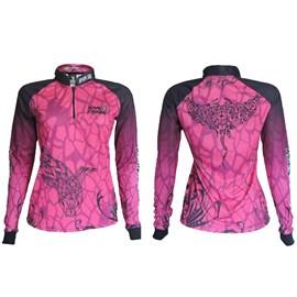 Camiseta Rock Fishing Feminina 50UV Maori (Pink Black)