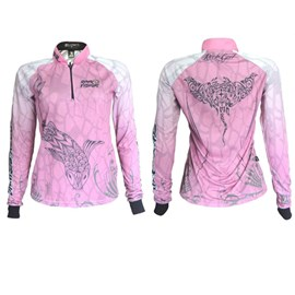 Camiseta Rock Fishing Feminina 50UV Maori (Pink White)