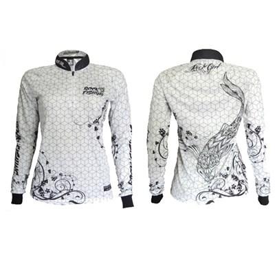 Camiseta Rock Fishing Feminina 50UV Maori (White Black)