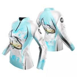 Camiseta Rock Fishing Feminino Dry River Tucuna Azul