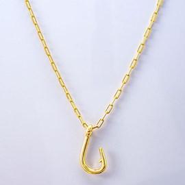 Colar Kamaro Anzol Cadeado 60cm Ouro/AMA CCL01