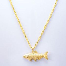 Colar Kamaro Dourado Cadeado 60cm Ouro/AMA CCL07