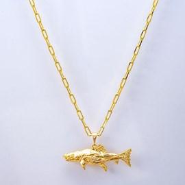 Colar Kamaro Pirarara Cadeado 60cm Ouro/AMA CCL06
