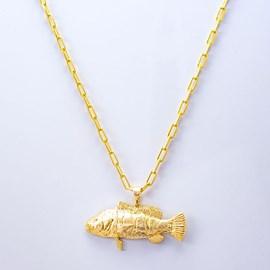 Colar Kamaro Tucunaré Cadeado 60cm Ouro/AMA CCL04