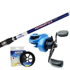 Conj. Vara Tacom Magnifica 8'0''(2,40m) 50lb + Carretilha Albatroz V73C – Blue (Esquerda) + Brinde