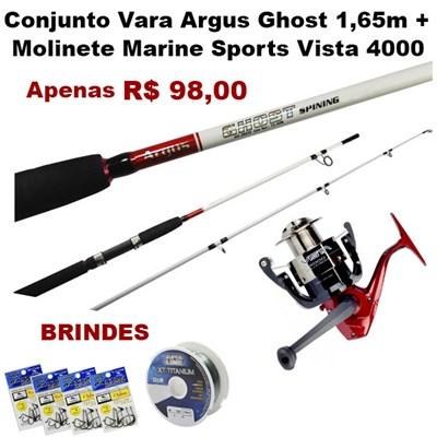 CONJUNTO VARA ARGUS GHOST 1,65M + MOLINETE MARINE SPORTS VISTA 4000 + BRINDES