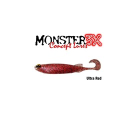 Isca Monster 3X Soft Bass E-Shad 12cm Ultra Red c/5 un