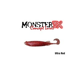 Isca Monster 3X Soft Bass E-Shad 9cm Ultra Red c/5 un