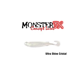 Isca Monster 3X Soft Bass E-Shad 9cm Ultra Shine Cristal C/5 Unidades
