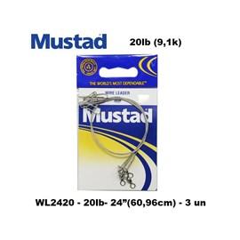 Kit 30 chicote Mustad de aço c/ girador e snap