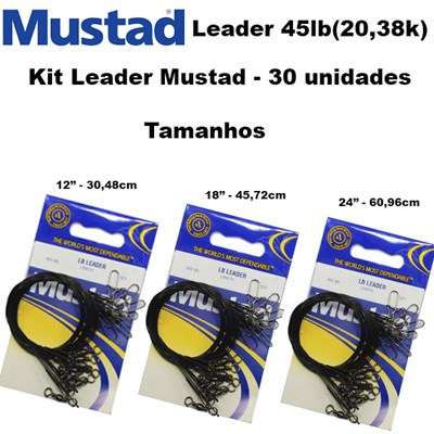 KIT CHICOTE MUSTAD WL BLACK 45LBS  C/30 UN