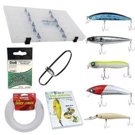 Kit Completo de Iscas Artificiais Aicás (5 Iscas e Acessórios) - Tucunaré
