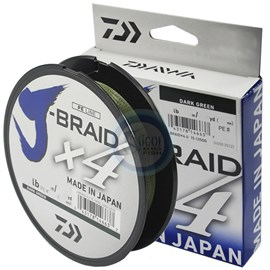 Linha Daiwa J Braid X4 - 20lb (0,21mm) - 270m - Green