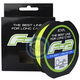 Linha kiya F-2 - N°6 - (0,40mm) - 30lb (13,6kg) - 300m - Monofilamento Amarelo