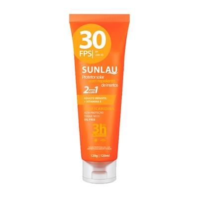 Protetor Sunlau FPS 30 UVA-UVB com Repelente de Insetos - c/120g