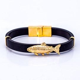 Pulseira Kamaro Dourado C/ Pingente Ouro/AMA PLS07